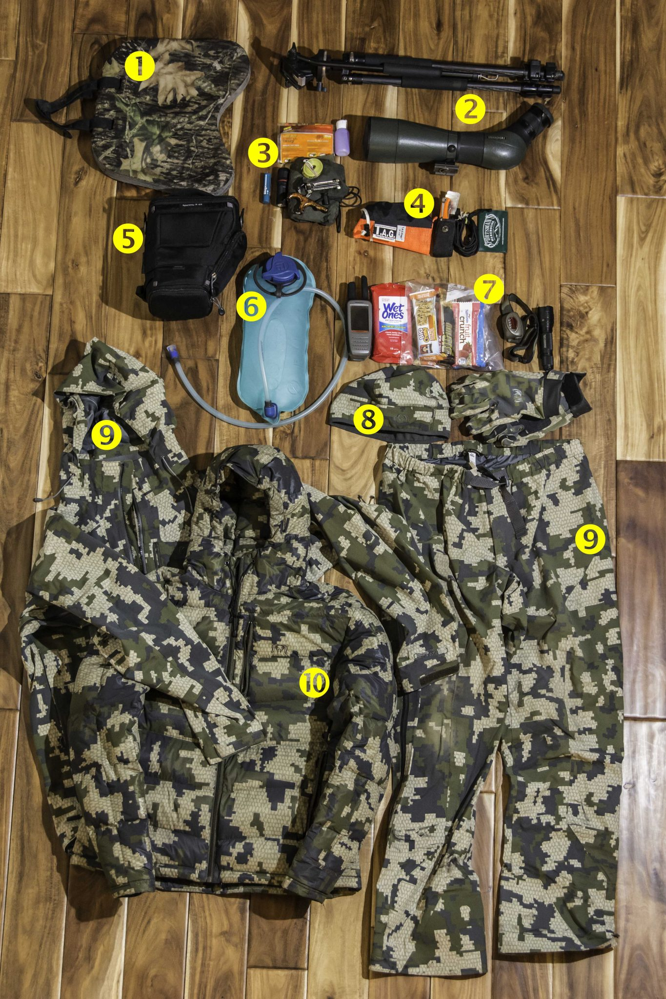 Gear for a typical all-day ordeal in pursuit of elk, mule deer, or wolf.
