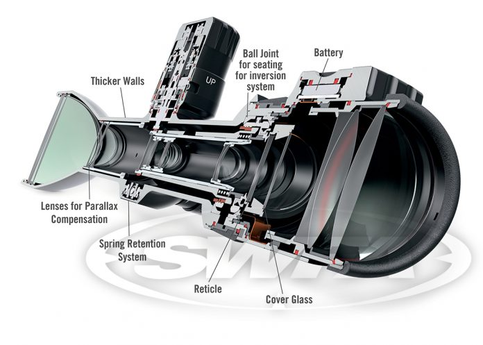 SWFA X5 Rifle Scope cross section text