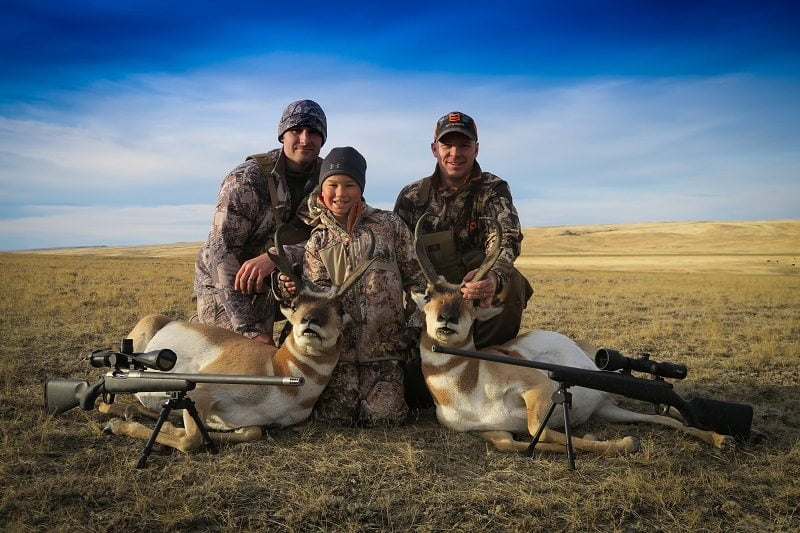 Two Christensen rifles and two nice antelope bucks
